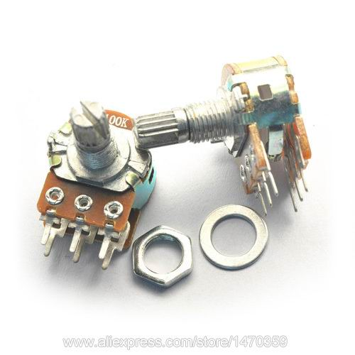 Rotary Potentiometer Variable Resistor Linear Taper Dual Line 6 Pin Washer Nut B100K 100K Ohm WH148 10PCS Lot