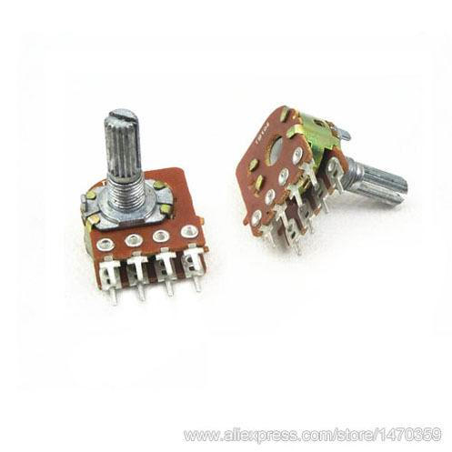 Rotary Volume Variable Resistor Linear Taper Dual Line Rank 8 Pin B50K 50K Ohm WH148 50PCS Lot