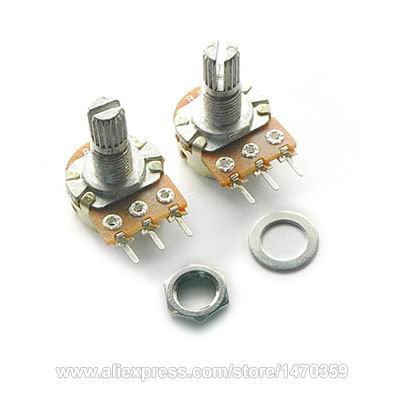 WH148 B10K 10K Ohm Rotary Potentiometer Variable Resistor Kit Linear Taper 3 PIN Single Line Washer Nut 100PCS Lot
